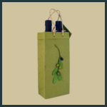 Gift Tote - Tall Double with Olive Branch Design - Green